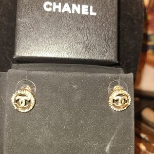 Chanel gold tone small round with CC logo earrings
